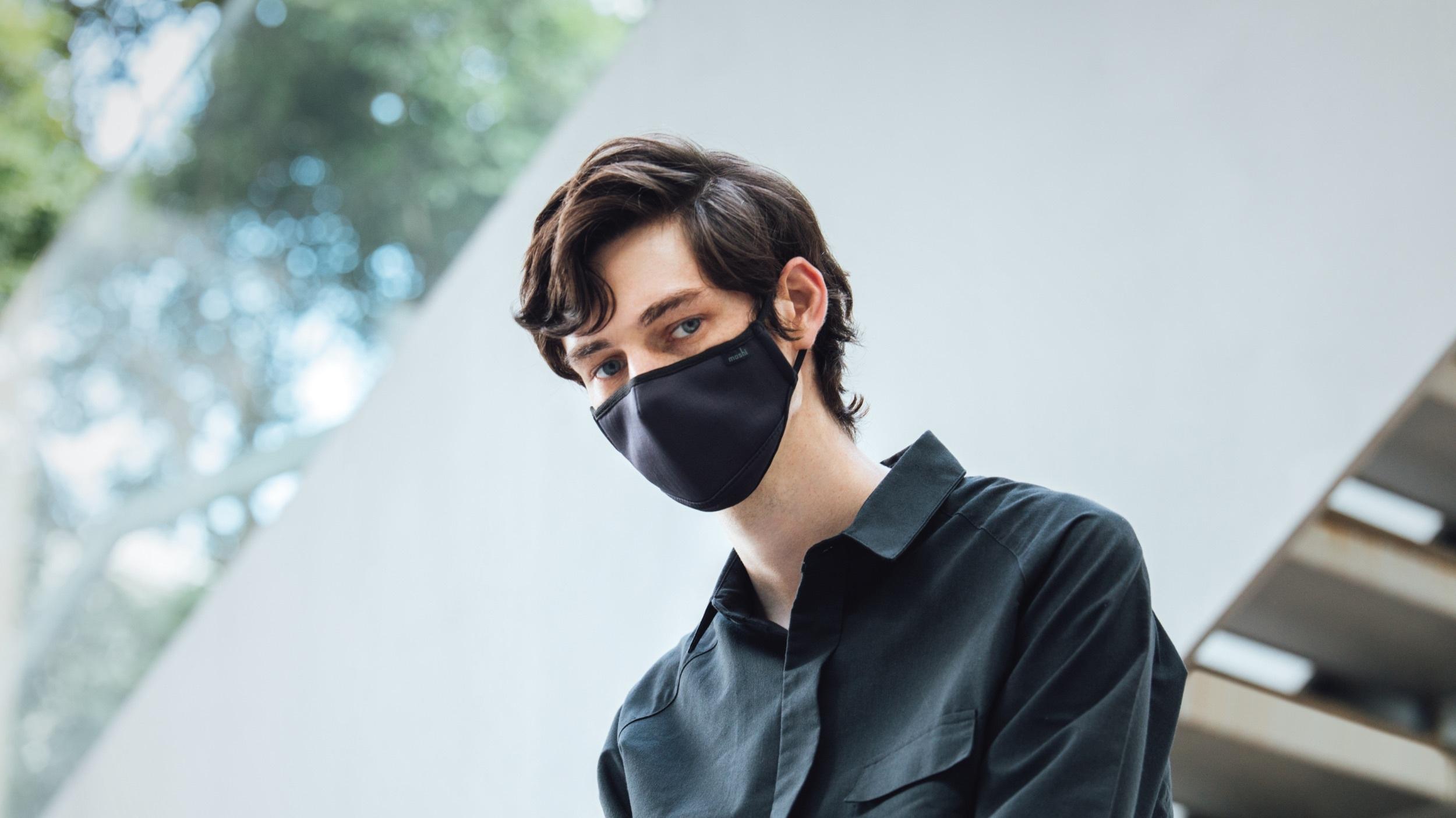 A man wearing a reusable face mask
