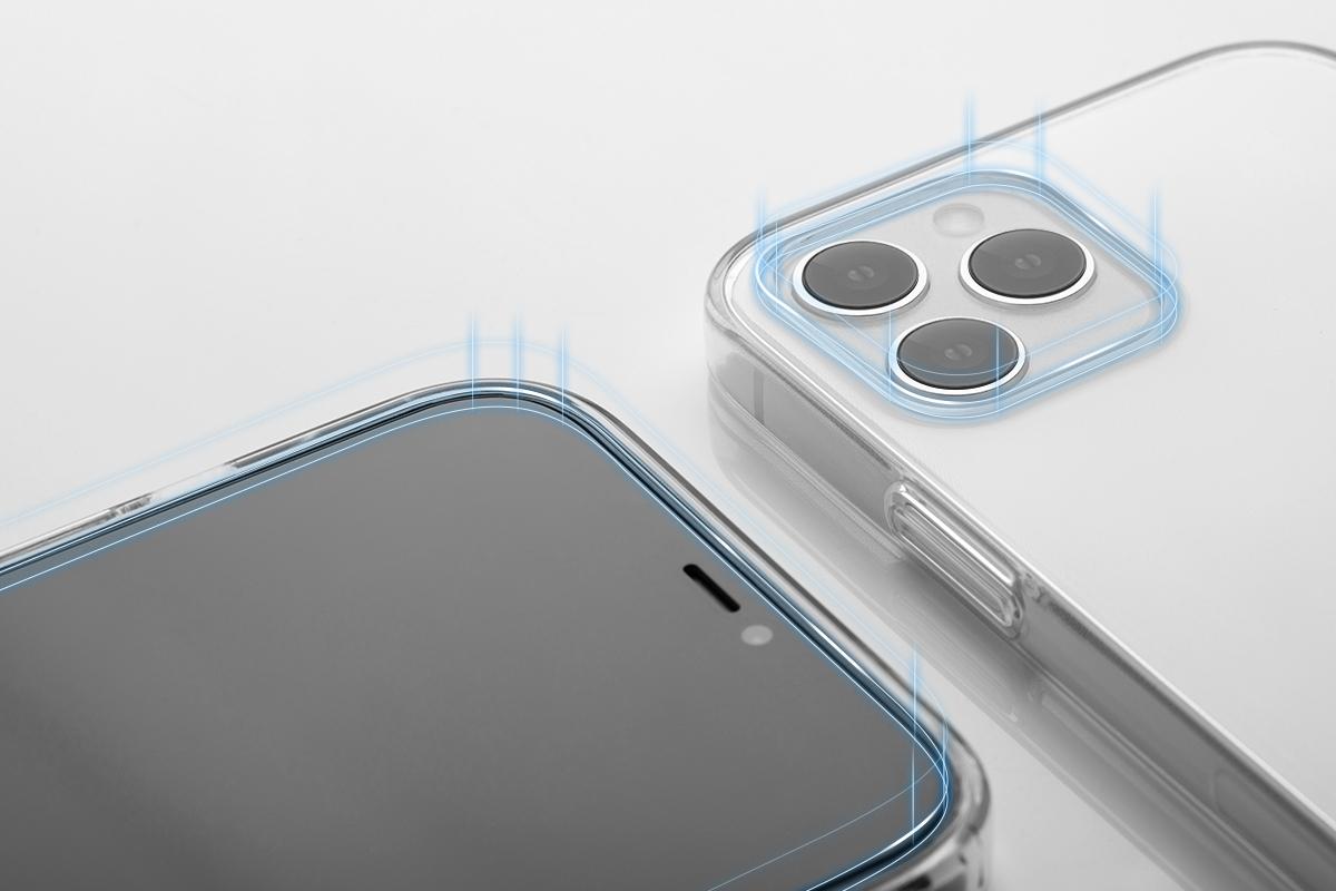 Protege tu pantalla táctil cuando está en la posición horizontal. Ajusta el volumen y el encendido y apagado de tu pantalla presionando suavemente un botón.