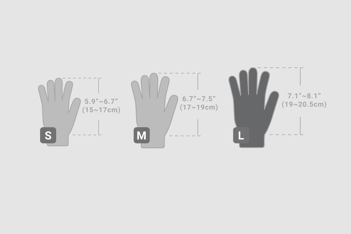 Digits 触控防滑手套提供3 种尺码:S 码与M 码 (浅灰色),L 码 (深灰色) 可供选择。为了选择合适的尺寸,请根据上面的图表测量您的双手。