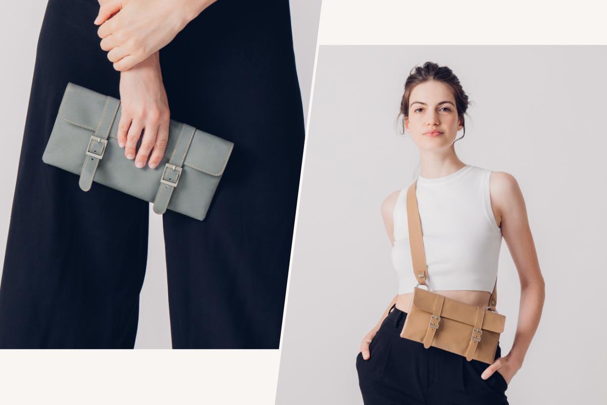 Die Treya Clutch hat ein schlichtes, aber elegantes Design, das zu jeder Gelegenheit passt. Tragen Sie sie alltags als Crossbody-Tasche oder als Clutch an einem Abend mit Freunden.