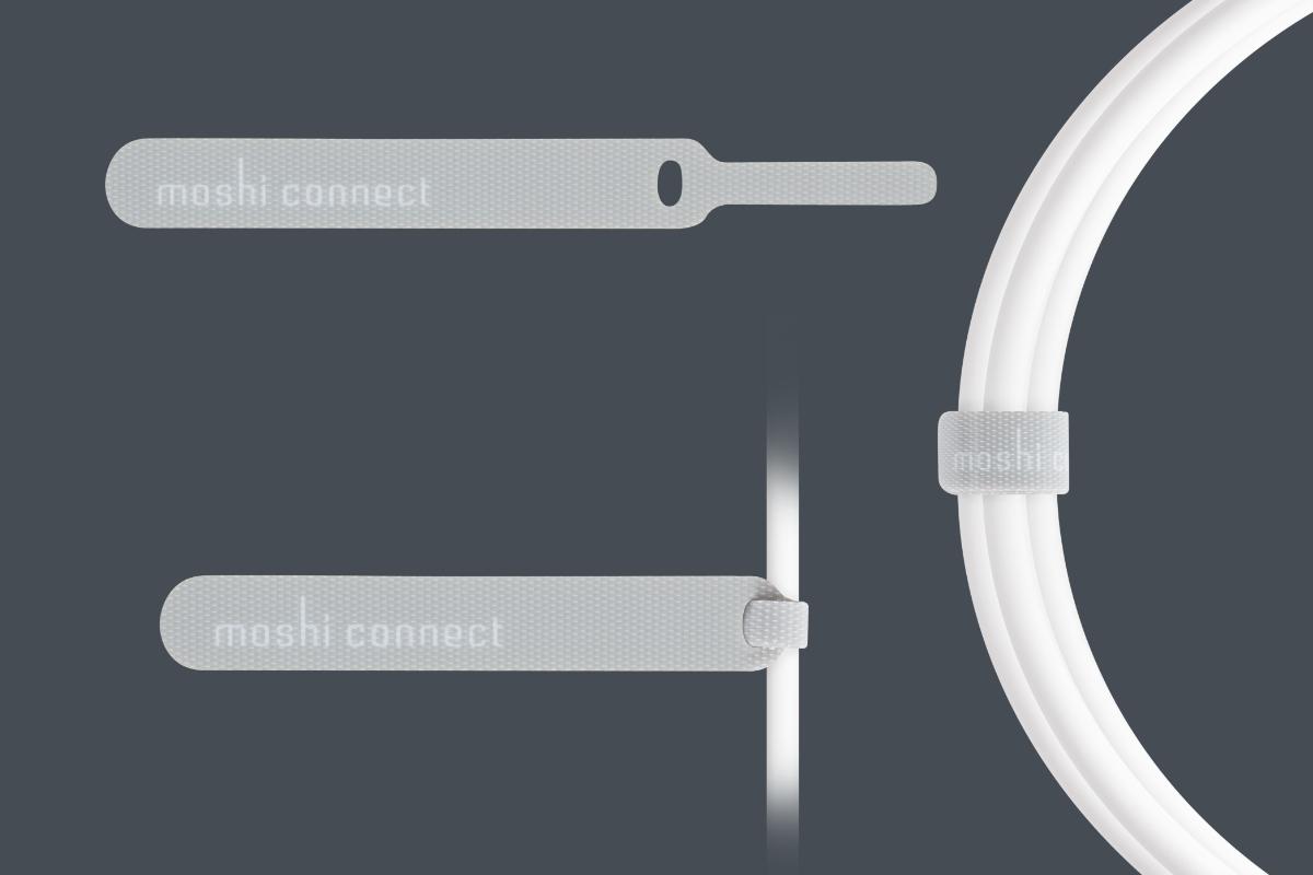 В комплект входит запатентованный ремешок-органайзер для удобного складывания кабелей от Moshi, гарантирующий комфортное ношение и хранение