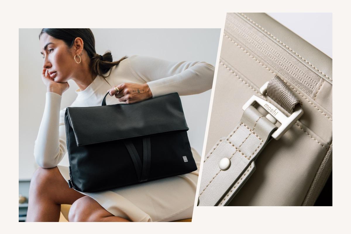 Wechseln Sie im Handumdrehen den Modus, damit Sie für jede Gelegenheit gerüstet sind. Die mitgelieferten Riemen verfügen über ein einfaches, aber zuverlässiges Klettverschluss-Design ohne komplizierte Schnallen oder Verschlüsse für ein Minimum an Aufwand. Befestigen Sie beide Trageriemen, um die Tasche wie einen modernen Rucksack zu tragen, nehmen Sie nur einen Trageriemen für den Weg zur Arbeit oder entfernen Sie beide Trageriemen, um die Tasche als Aktentasche für Ihr Meeting zu verwenden.