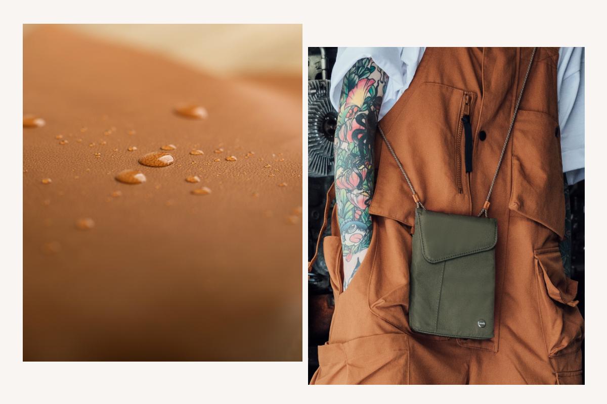 由職人手工縫製、友善動物的 Vegan 皮革和高強度尼龍製成,輕巧耐用。採用防潑水工藝,能防止日常雨水潑濺,從容面對各式天候與情境
