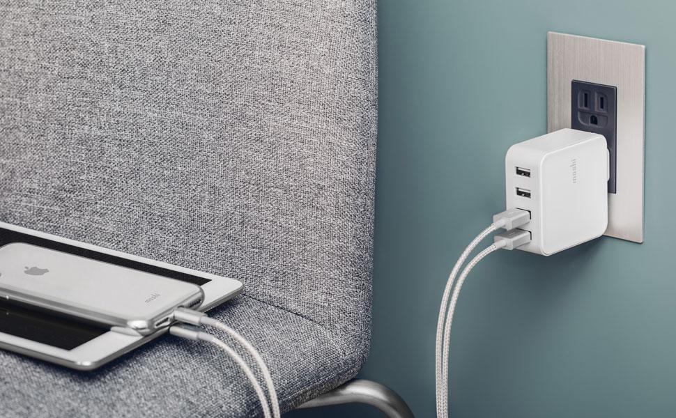 Chargez rapidement 4 appareils USB en même temps