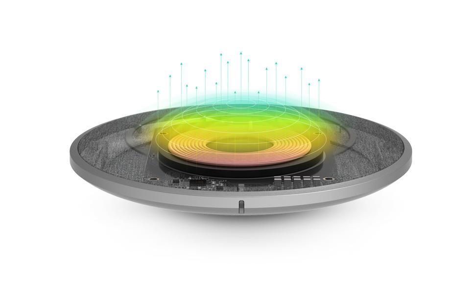 创新的 Q-coil™ 模组系统, 以 2.6 毫米铁氧体薄片为特色,可以兼容厚达 5mm 的手机壳,能高效地为您的手机充电。