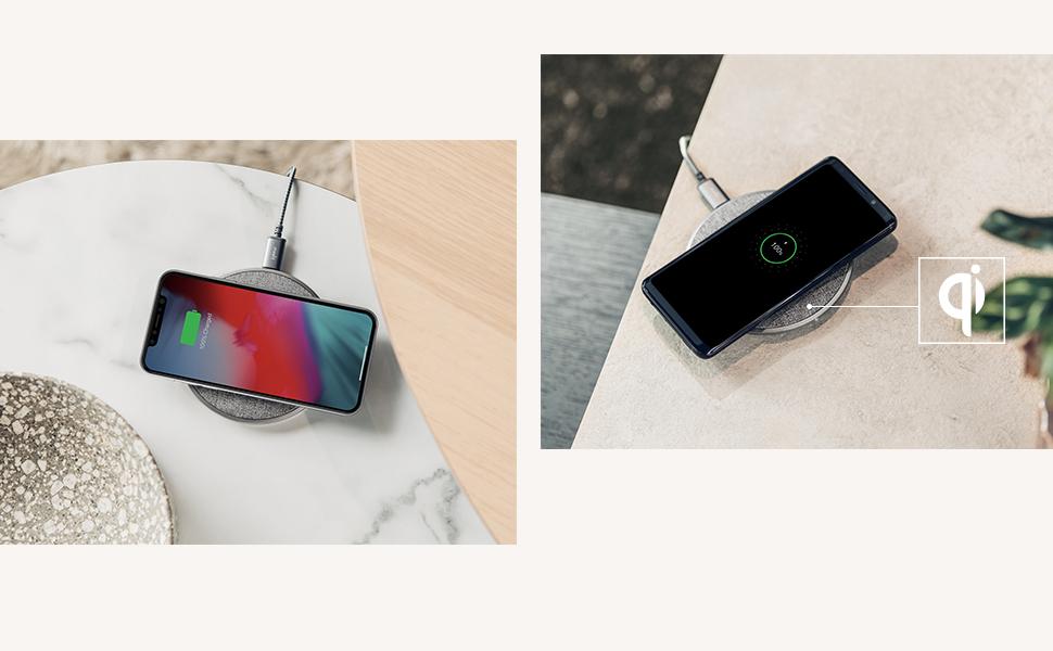Laden Sie jedes Qi-Gerät Otto Q ist vom Wireless Power Consortium für Kompatibilität mit anderen Qi-Geräten, darunter Smartphones von Samsung, Google, Apple und LG sowie AirPods, zertifiziert.