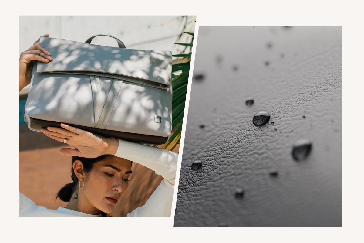 Diseñada para durar, Vespo te da tranquilidad - facilita para tus trayectos diarios. El nylon ligero y resistente a la intemperie protege tus pertenencias de los elementos, resistente al agua, las manchas y las abrasiones. A su vez, la solapa frontal, las asas y los detalles de cuero vegano prémium añaden lujo sin crueldad.
