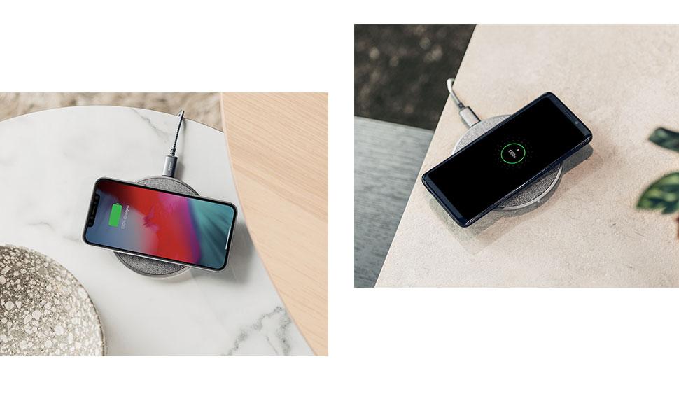 Otto Q est compatible avec tous les appareils Qi, ce qui inclut les dernières versions d'iPhone, d'Android, de tablettes et bien plus encore.