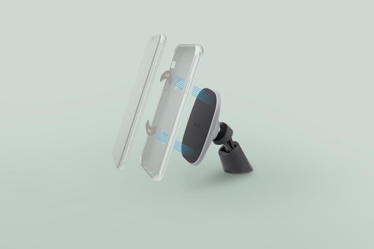 Les languettes métalliques incluses s'insèrent dans toute coque SnapTo de Moshi compatible. Pas besoin de coller d'objets disgracieux à votre coque !