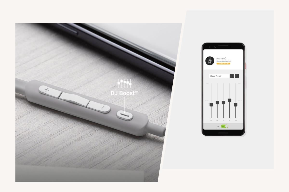 Avanti C's USB-C connector is compatible with any USB-C phone, tablet, or laptop and the cable includes a built-in Digital-to-Analog Converter (DAC) for high-resolution audio (24-bit/96 kHz) with a Class G amplifier. Want more bass? More treble? Quickly switch to your favorite EQ preset at the push of the DJ Boost button on the in-line 4-button remote. For older devices, an included 3.5 mm headphone cable allows for connection using a 3.5 mm audio jack.