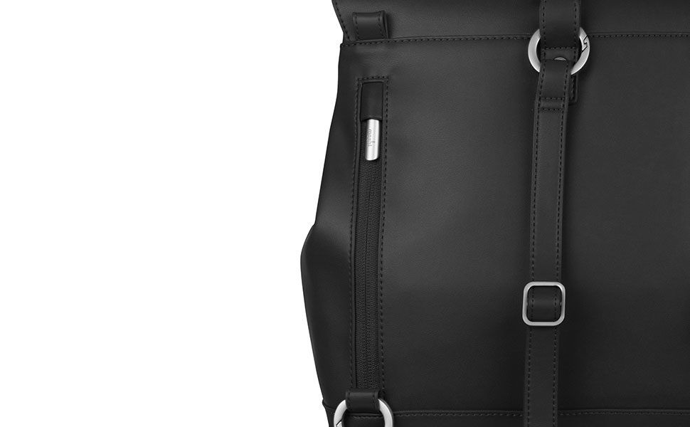 A zippered rear Napoleon pocket keeps important items close and secure.