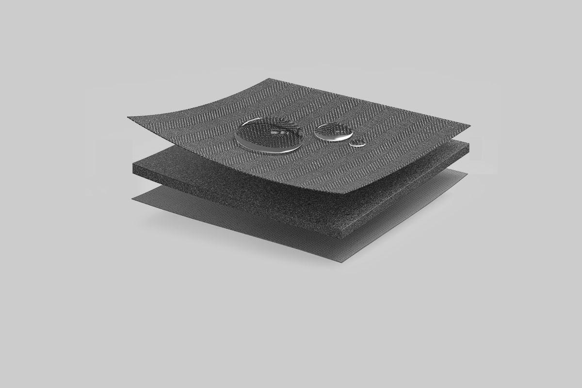 内层为高弹性细致柔软纤维、中间层为防冲击软垫层、表层为经过特殊处理的防泼溅聚酯纤维。