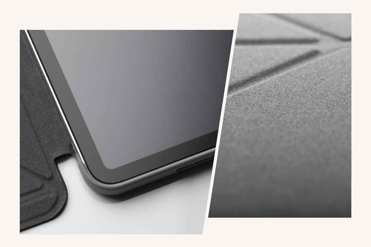 防泼水超细纤维内衬,提供 iPad 屏幕充分防护;减震边框令 iPad 免于碰撞和刮伤。
