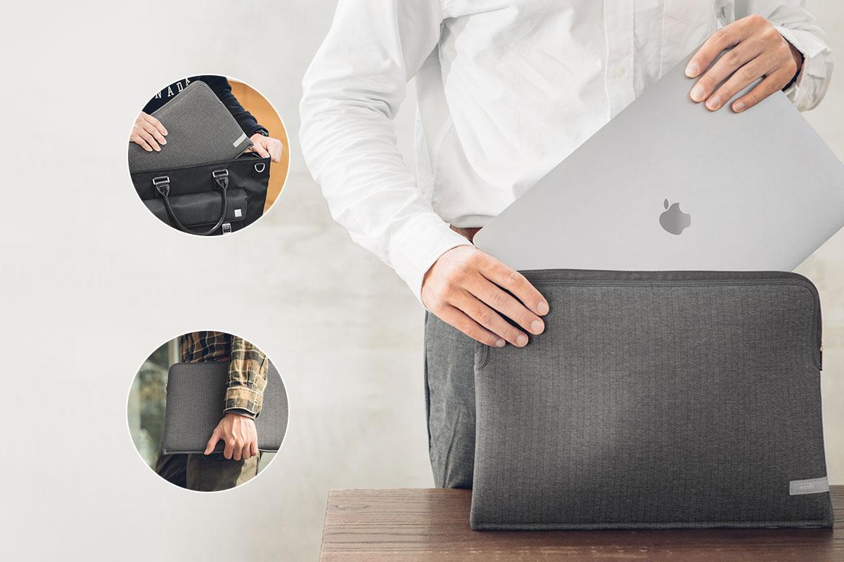 依外出需求選擇攜帶方式。將 Pluma 夾在手臂內側以手持攜帶,或放入包包中攜帶。