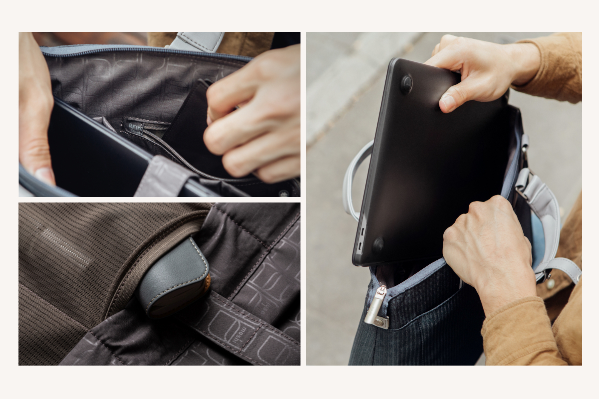 Die Urbana Lite verfügt über ein geräumiges Innenfach mit einem gepolsterten 13-Zoll-Laptopfach und zusätzlichen Fächern, um Zubehör zu organisieren und zu schützen, während eine Reißverschlusstasche mit RFID-Abschirmung Pässe, Kreditkarten und Smartcards vor dem Abschöpfen von Daten schützt.