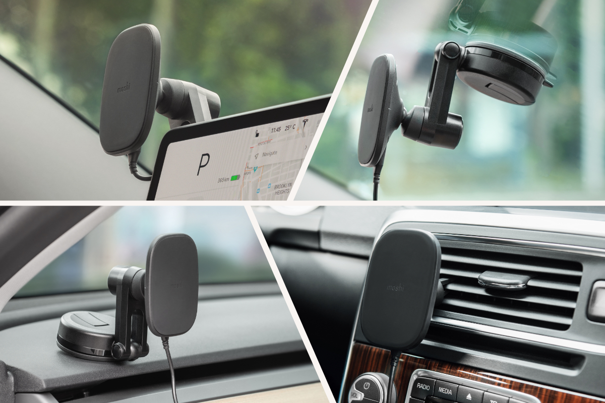 The SnapTo Magnetic Car Mount comes with a vent-mount clip and a flexible mounting adapter suitable for your dashboard, windshield, or Tesla Model 3/Y touchscreen. The vent mount clips to most car air vents and makes it easy to move the mount between vehicles if needed, while the mounting adapter allows a more customizable mounting position for you car's layout.