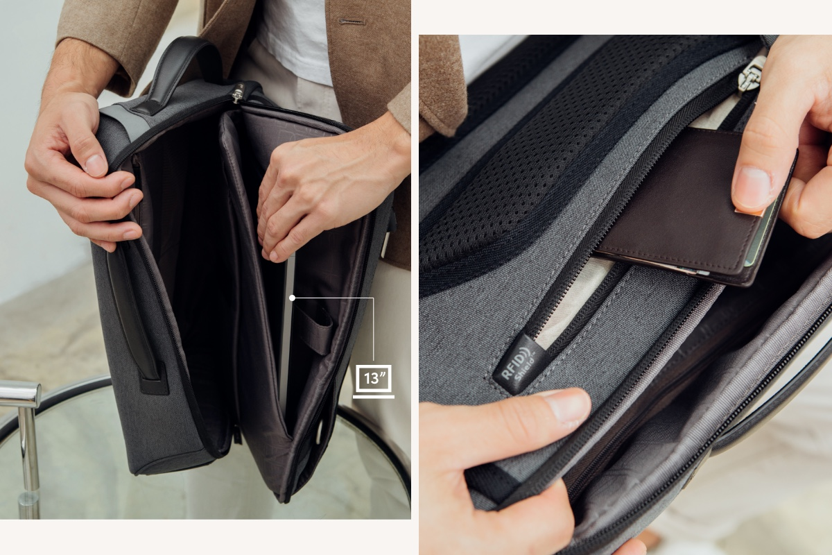 "Muto boasts a spacious interior with padded 13"" laptop and 11"" tablet compartments as well as additional pockets to keep accessories organized and protected, while an RFID Shield zippered pocket protects passports, credit cards, and smart cards from data skimming."