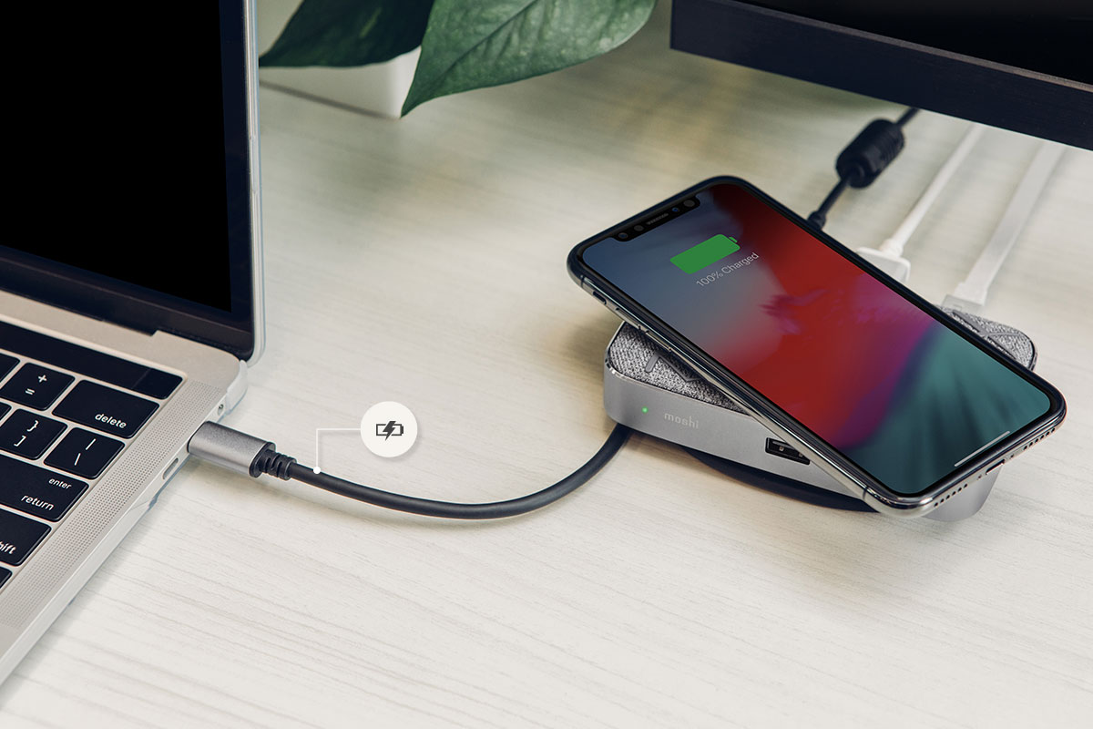Symbus Q simultaneously provides up to 60 W fast-charging power for USB-C laptops and tablets including MacBooks and Surface, so even a short stint at your desk will provide the battery boost you need to get you through a busy workday on the move.