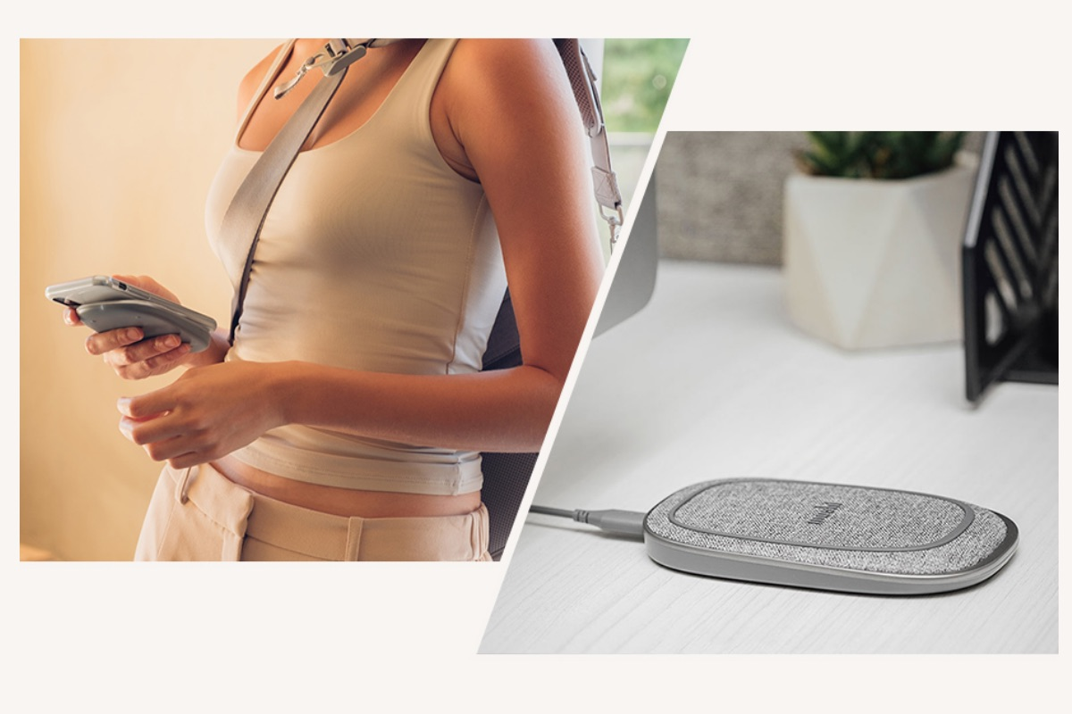 Porto Q's built-in battery has enough capacity for up to 2 wireless charges of your smartphone and also works as a regular portable battery to charge using a USB-A cable.
