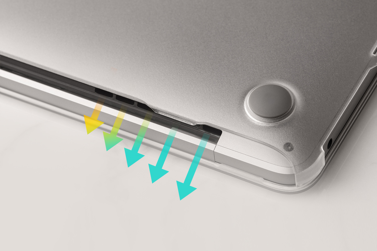 Custom cut-out panels allow for unobstructed airflow and more effiecient heat dissipation as well as full access to all of your MacBook's ports.