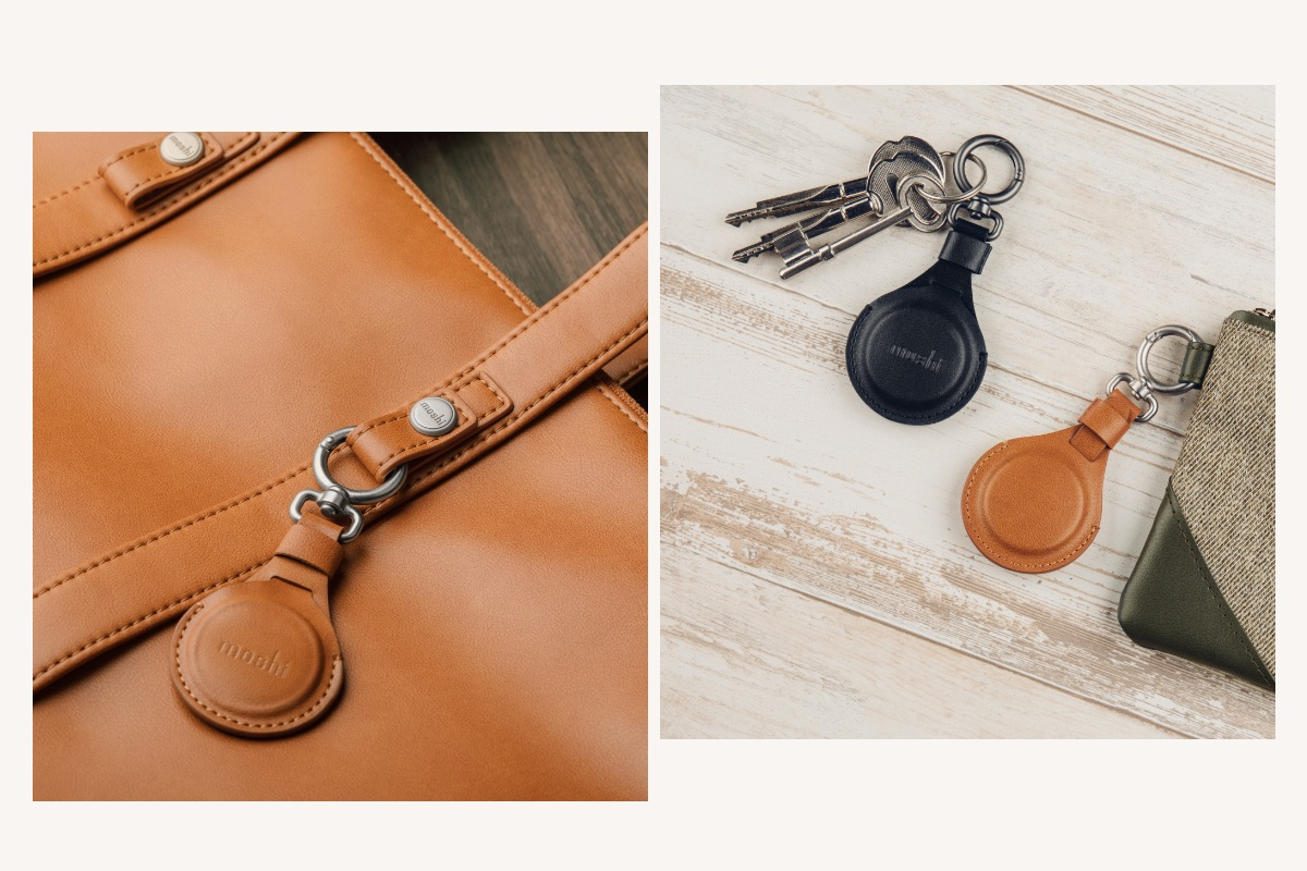 The AirTag Key Ring encases your AirTag completely in premium vegan leather for the ultimate in protection against bumps and scratches, with a fixed loop to secure the Key Ring closed and keep your AirTag safe from loss or damage.