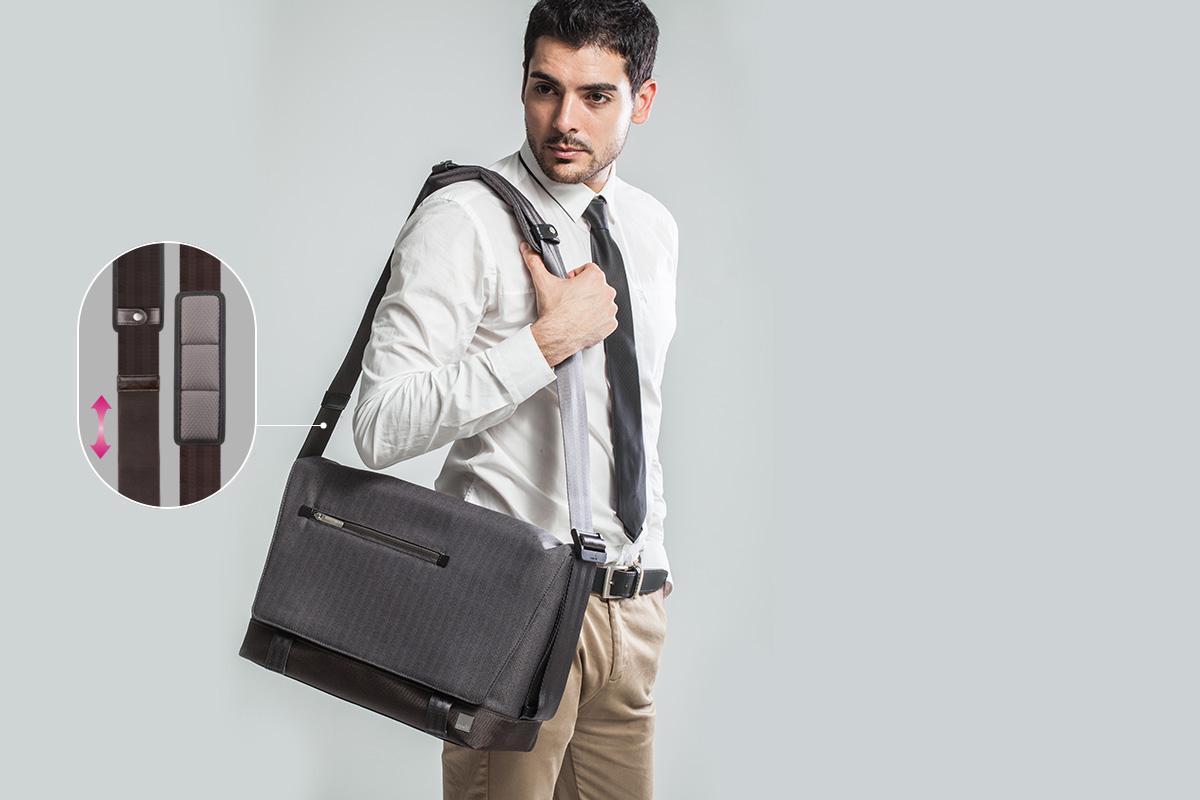 Bandoulière ViscoStrap™ rembourrée aide à réduire le poids du sac de 30% pour un plus grand confort.