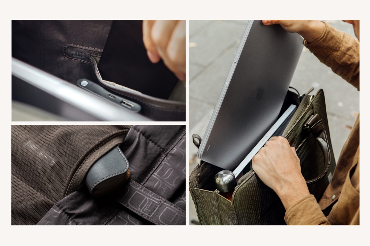"Urbana Navi boasts a spacious expandable inner with a padded 16"" laptop compartment and additional pockets to keep accessories organized and protected, while an RFID Shield zippered pocket protects passports, credit cards, and smart cards from data skimming."