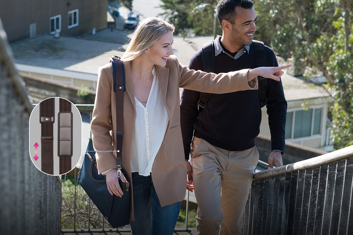 ViscoStrap™背带附有减压垫,提供数小时的灵活舒适度,帮助缓解肩部整日承受的压力。