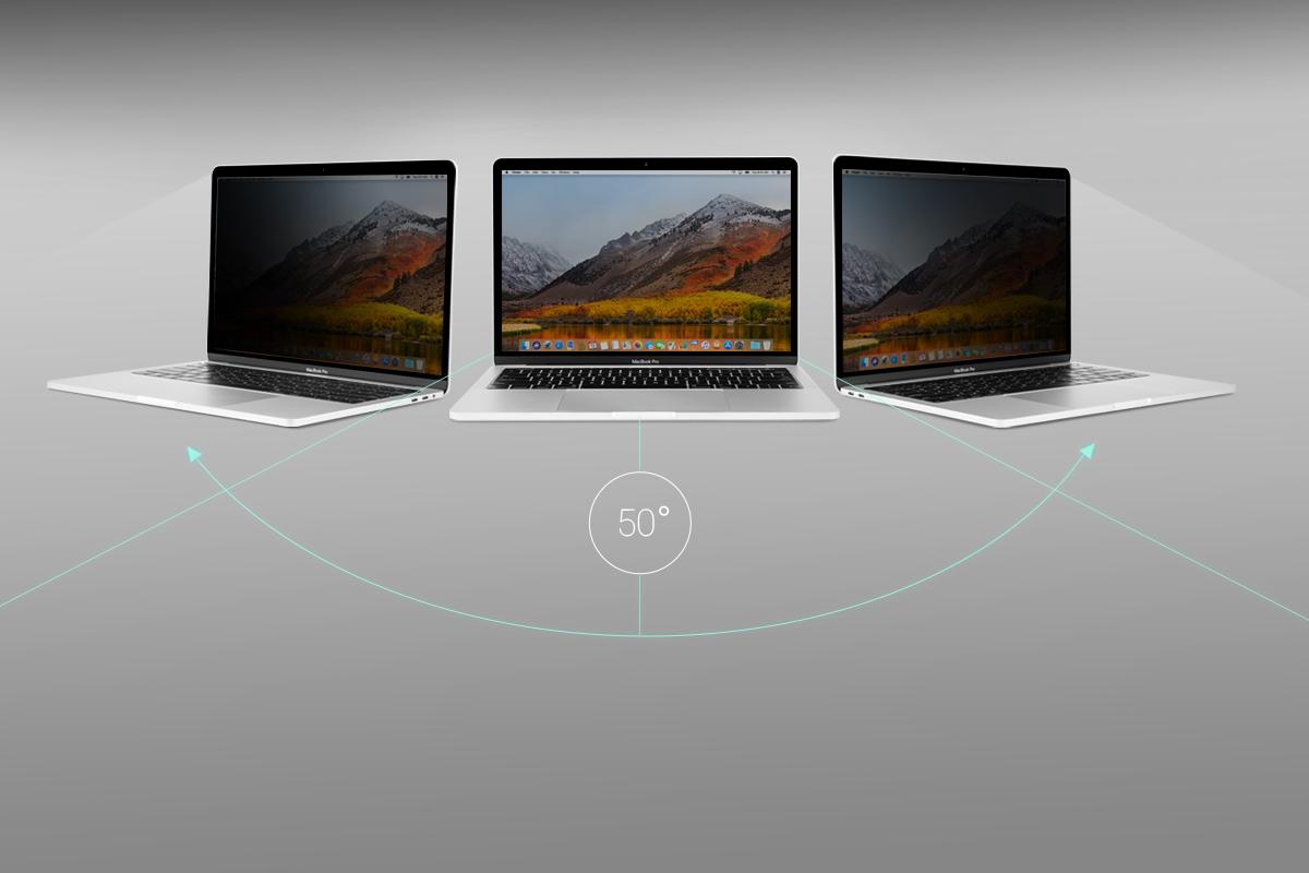 Защитите экран своего MacBook от посторонних глаз. Отлично подходит для работы в самолете или людных местах.