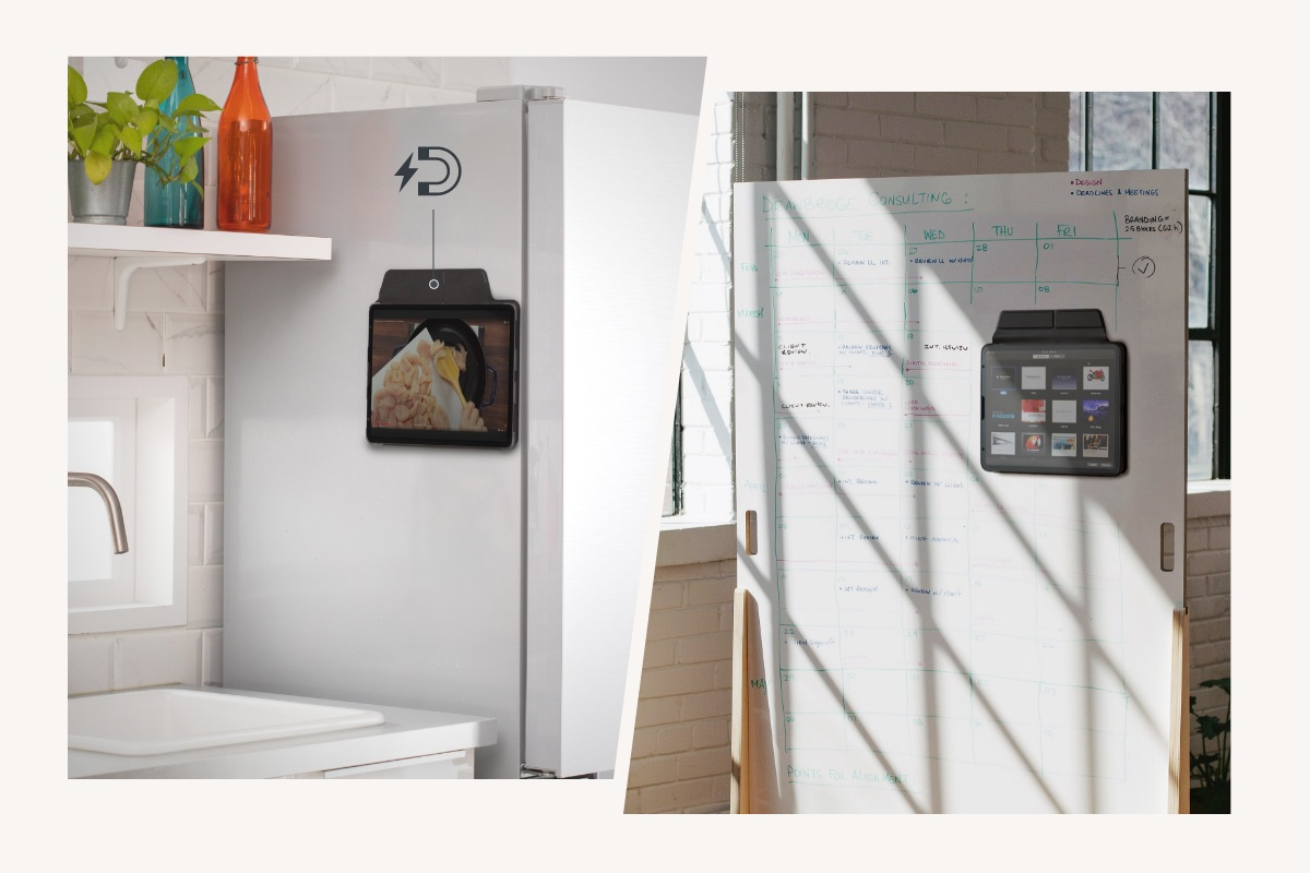 VersaCover 多角度前后保护套的磁吸式前盖设计,能固定于金属材质表面。能吸附于冰箱,于烹饪时轻松地观看食谱;亦能固定于白板,方便播放影片、资料,成为会议/课程的最佳助手,会议讨论、线上课程更有效率。