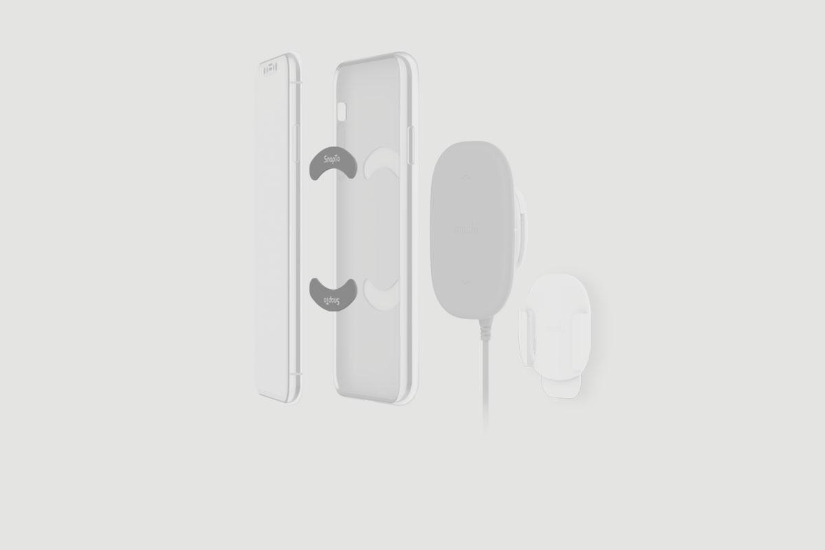 比起其他外露磁吸設計的基座相比,Moshi SnapTo 內藏式金屬鐵片設計可巧妙安裝於手機殼內部,完全不會引人注目。