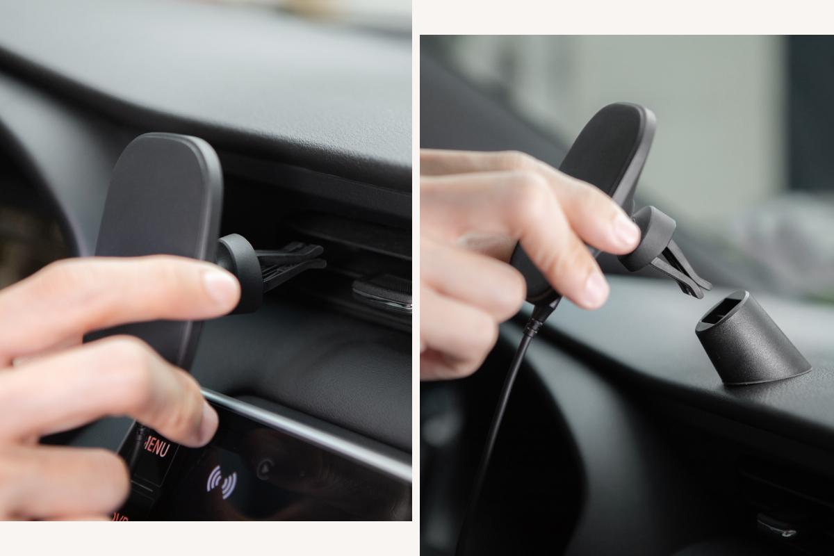 通気口クリップまたはダッシュアダプタを使用して車内のどこでもスマートフォンを取り付けます。