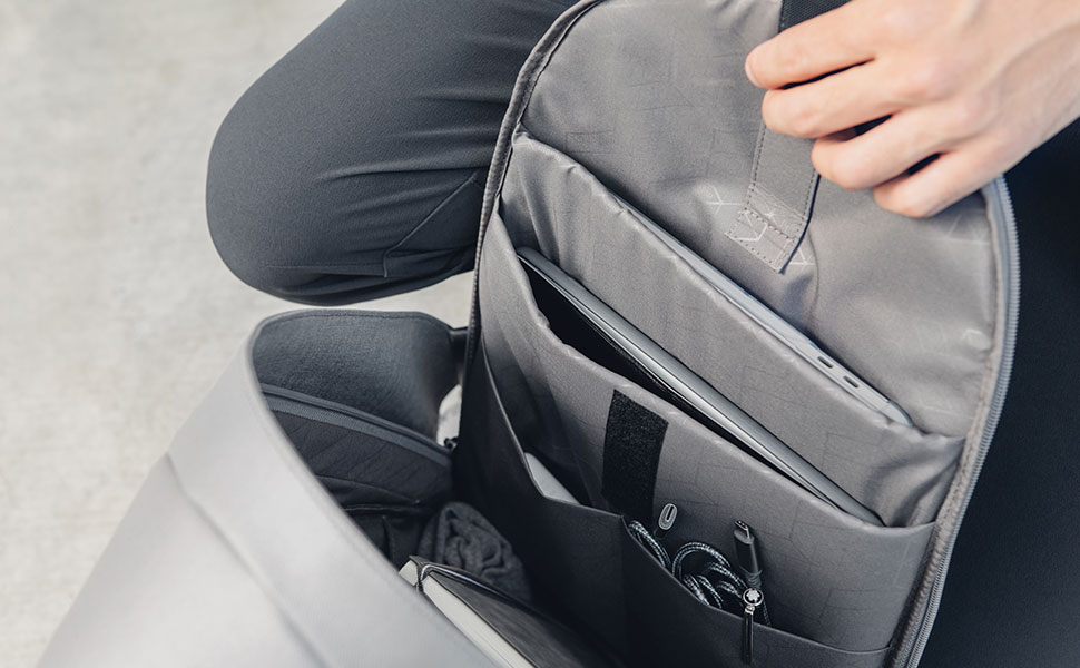 "A spacious interior includes a padded sleeve for laptops up to 15"", an iPad 10.5"" and enough room for all your other belongings."