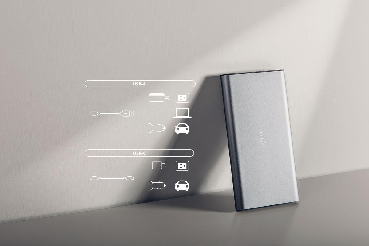 USB-C 口补电,可与多款设备搭配使用,灵活补电。