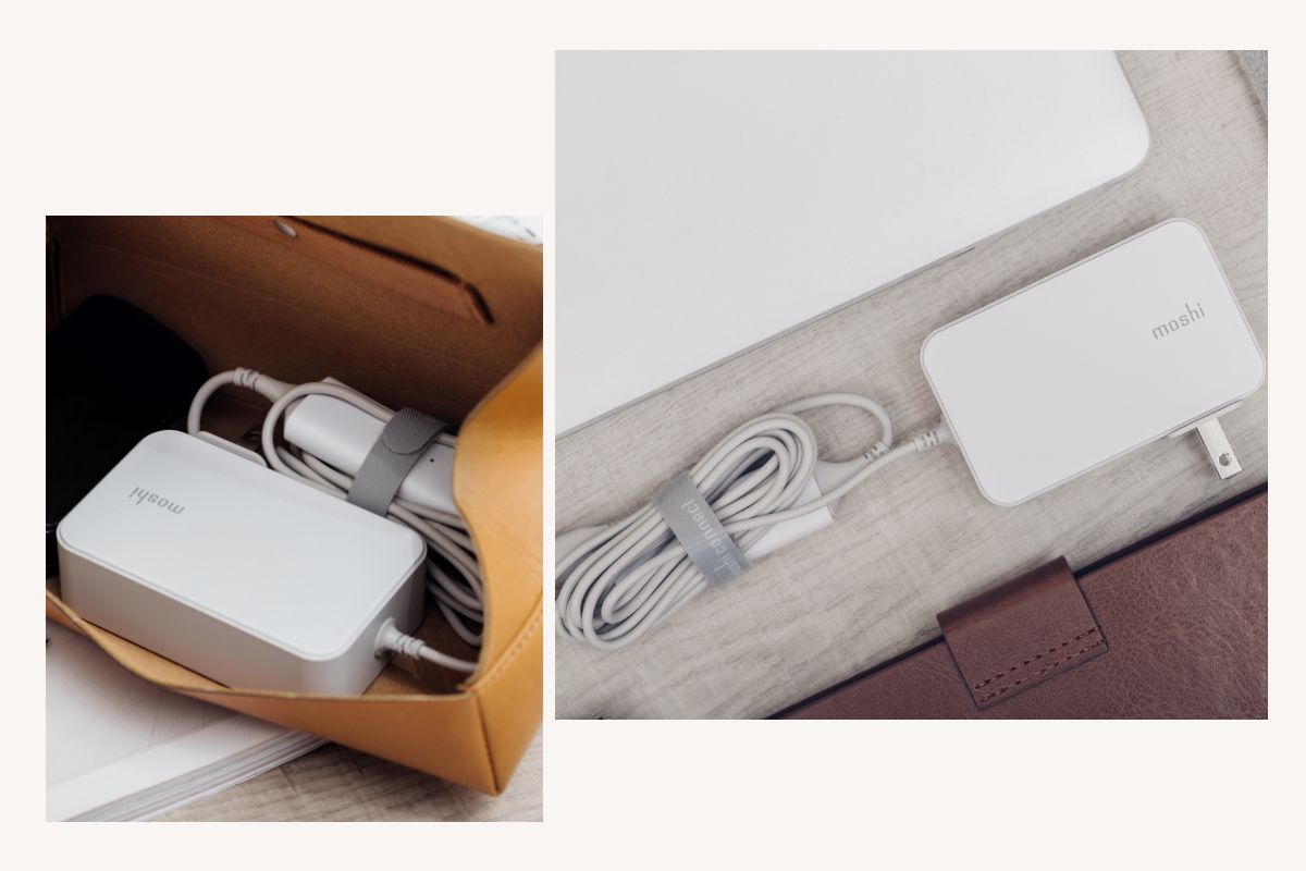 Small power brick footprint makes it easy to stow ProGeo in a laptop bag or backpack, while Moshi's HandyStrap™ cable management system prevents tangles. The optional ProGeo adapter pack allows you to change the power plug when traveling for global compatibility.