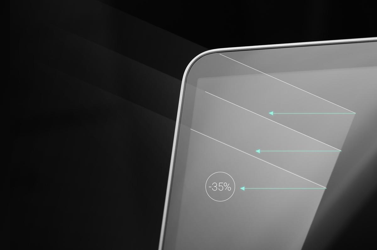Die Emissionen von blauem Licht werden um 35% reduziert, um zu gewährleisten, dass Sie es auch noch nach längerer Zeit als angenehm empfinden, den Bildschirm zu betrachten.