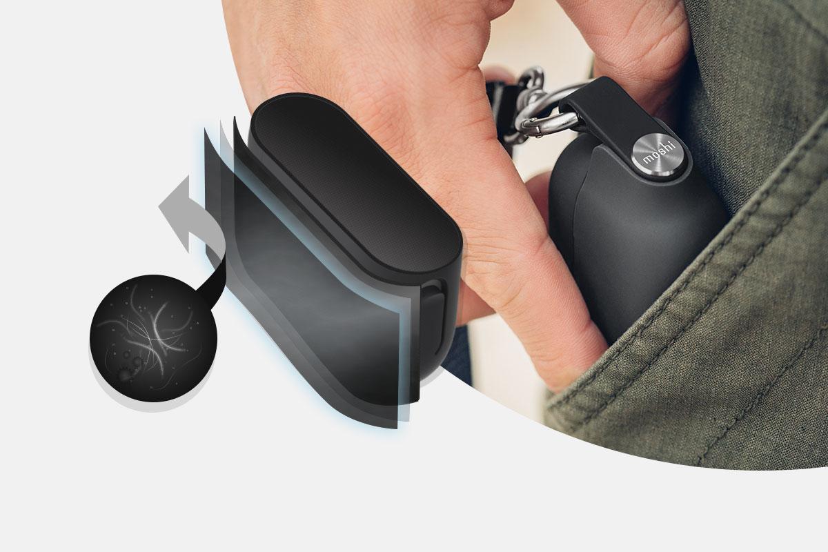 Verhindern Sie, dass lästige Fusseln und Staub aus der Tasche an Ihrem Schutzgehäuse haften bleiben.