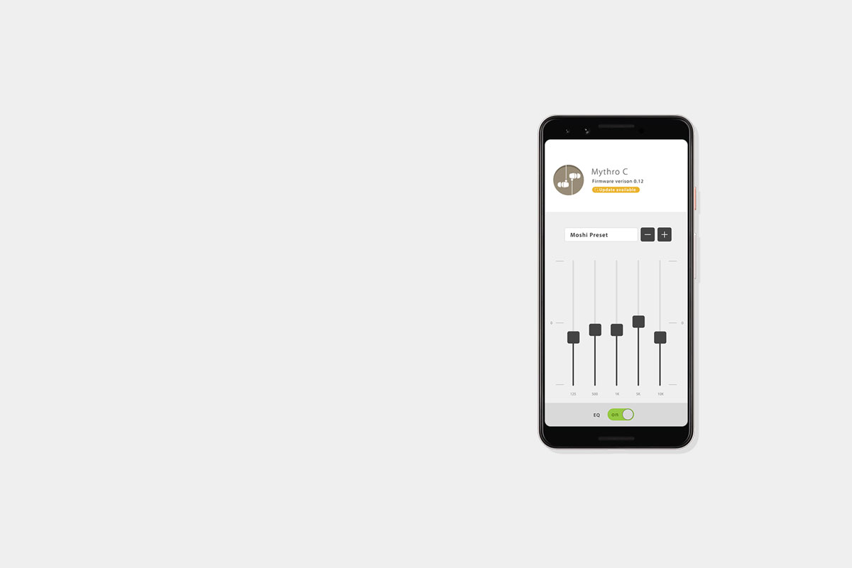 Download Moshi's Digital Audio App to save your favorite EQ presets. Save up to 5 presets and  switch to your favorite with the DJ Boost button.