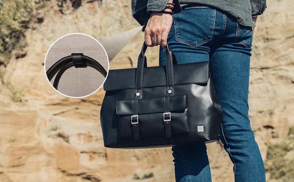 Благодаря застежке ручки сумки всегда будут аккуратно сложены для удобства ношения.