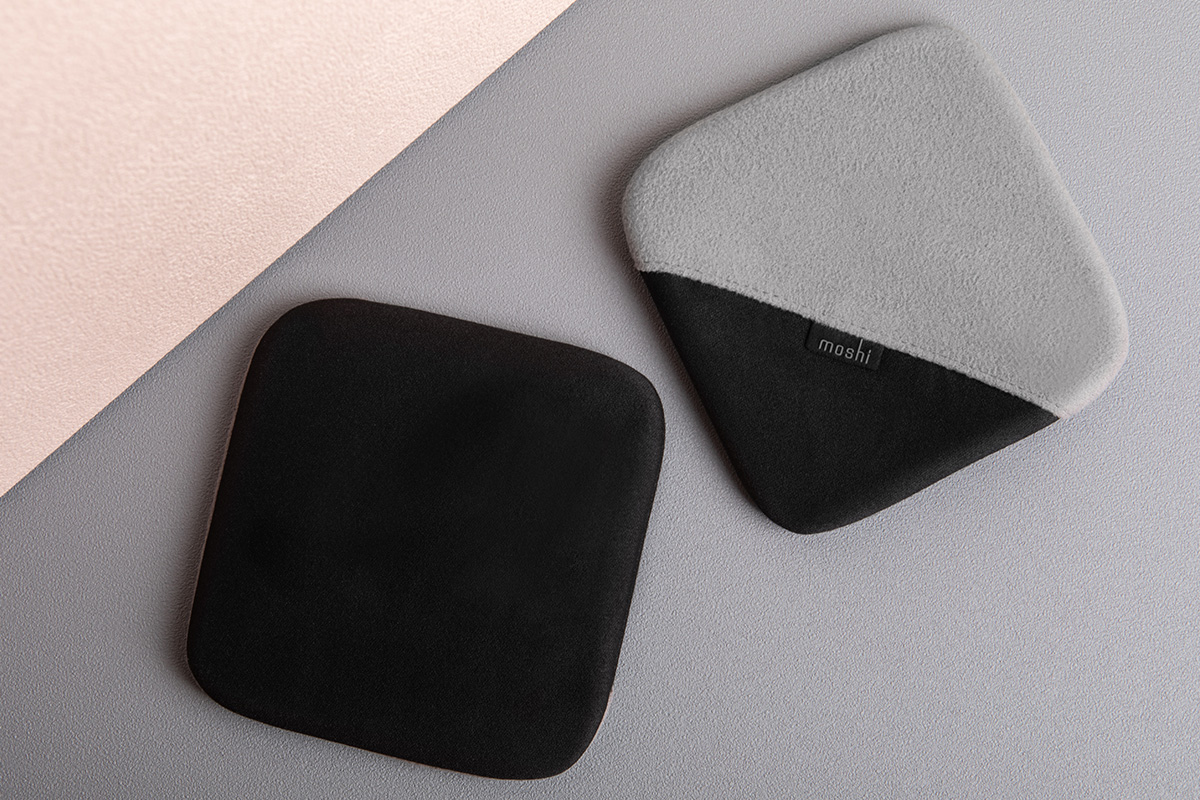 Use the black microfiber side with a light spray of water to wipe away fingerprints, or turn the glove inside-out to use the grey suede-like side for dust and lint removal. A handy finger pocket helps you get a better grip on the cloth while cleaning, making it perfect for larger screens like laptops and in-car displays.