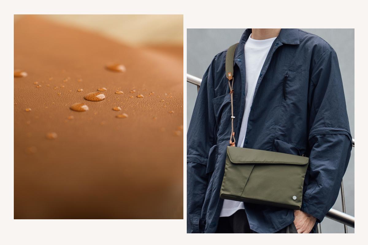Доступны варианты из экологически чистой веганской кожи или нейлона высокой плотности, Aro легкая, но достаточно прочная, чтобы выдержать любое приключение. Наружное погодоустойчивое покрытие защищает от непогоды и брызг.