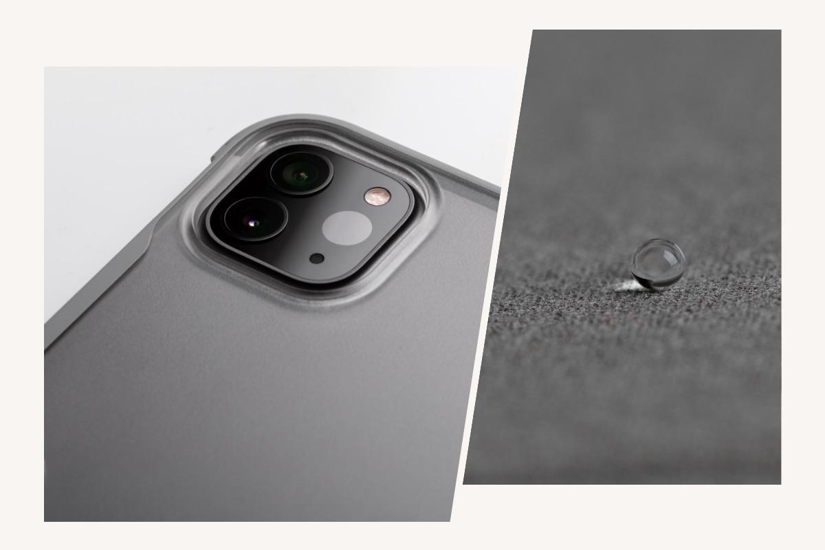 La cubierta de suave microfibra protege la pantalla táctil, mientras un marco absorbe los golpes y protege el dispositivo de arañazos y golpes.