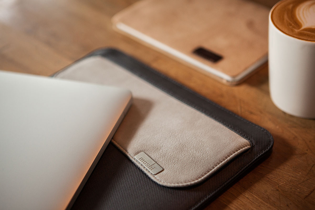 """Muse holds up to a 13"""" iPad in the main sleeve, with an additional outer pocket for adapters, cables, and Apple Pencil."""