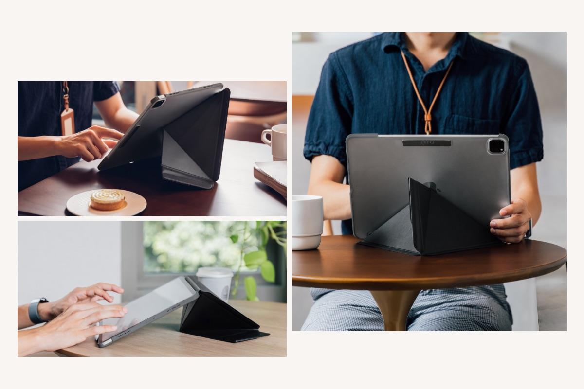 VersaCoverの受賞歴のあるカバーデザインはiPadを縦置き、横置き、そしてタイピングに適した角度で自由に変えられます。