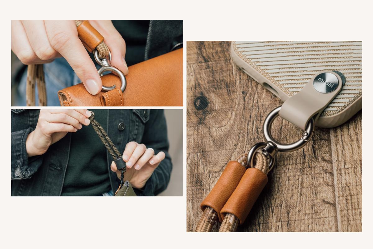 Fixez rapidement et facilement la sangle réglable à votre sac, portefeuille ou téléphone. Conçue pour durer, elle est dotée de crochets pour une installation facile et sûre, ainsi que d'un niveau de protection supplémentaire contre les accidents inattendus.