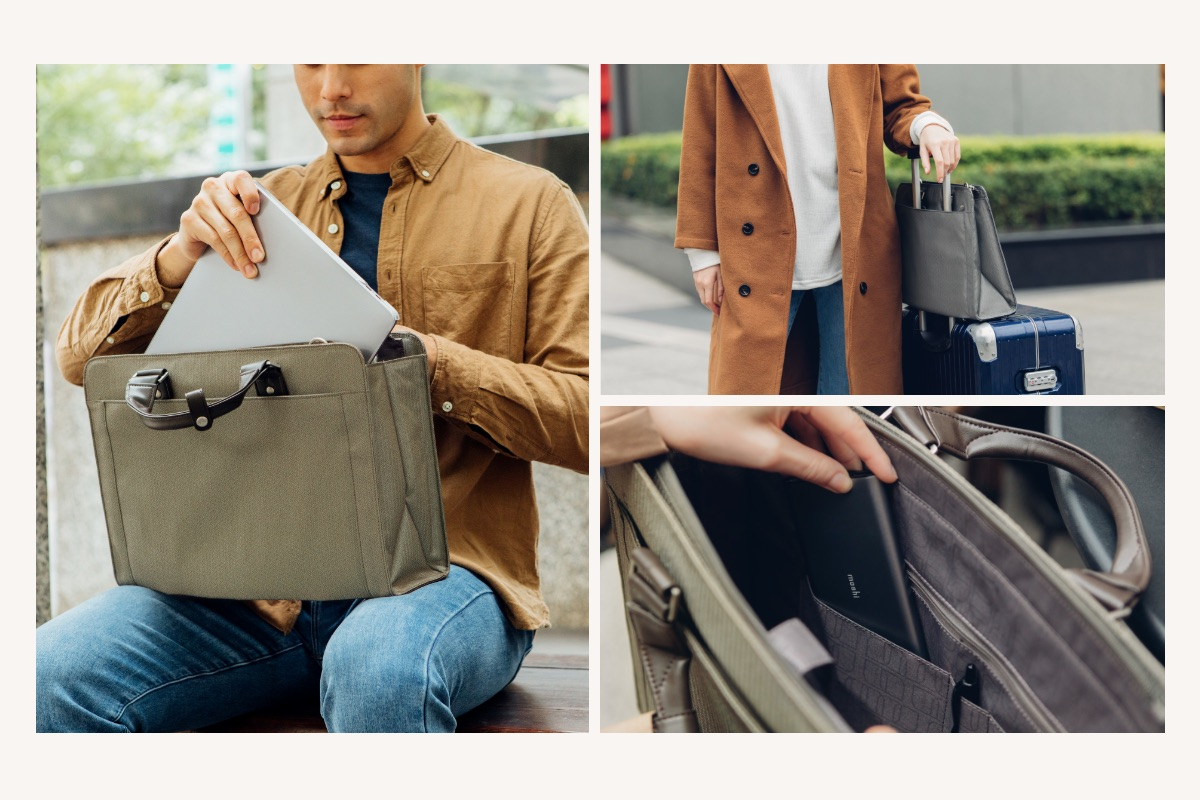 The ideal business travel companion, Urbana Navi's discreet rear zippered pocket transforms into a trolley sleeve, sliding easily on to rolling luggage to help you glide through the airport, train station, or convention center while keeping your essentials close by for easy access.