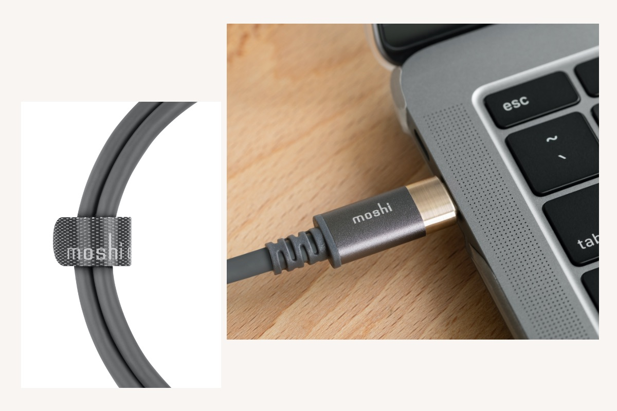 Includes Moshi's proprietary cable management strap for hassle-free carrying and storage.