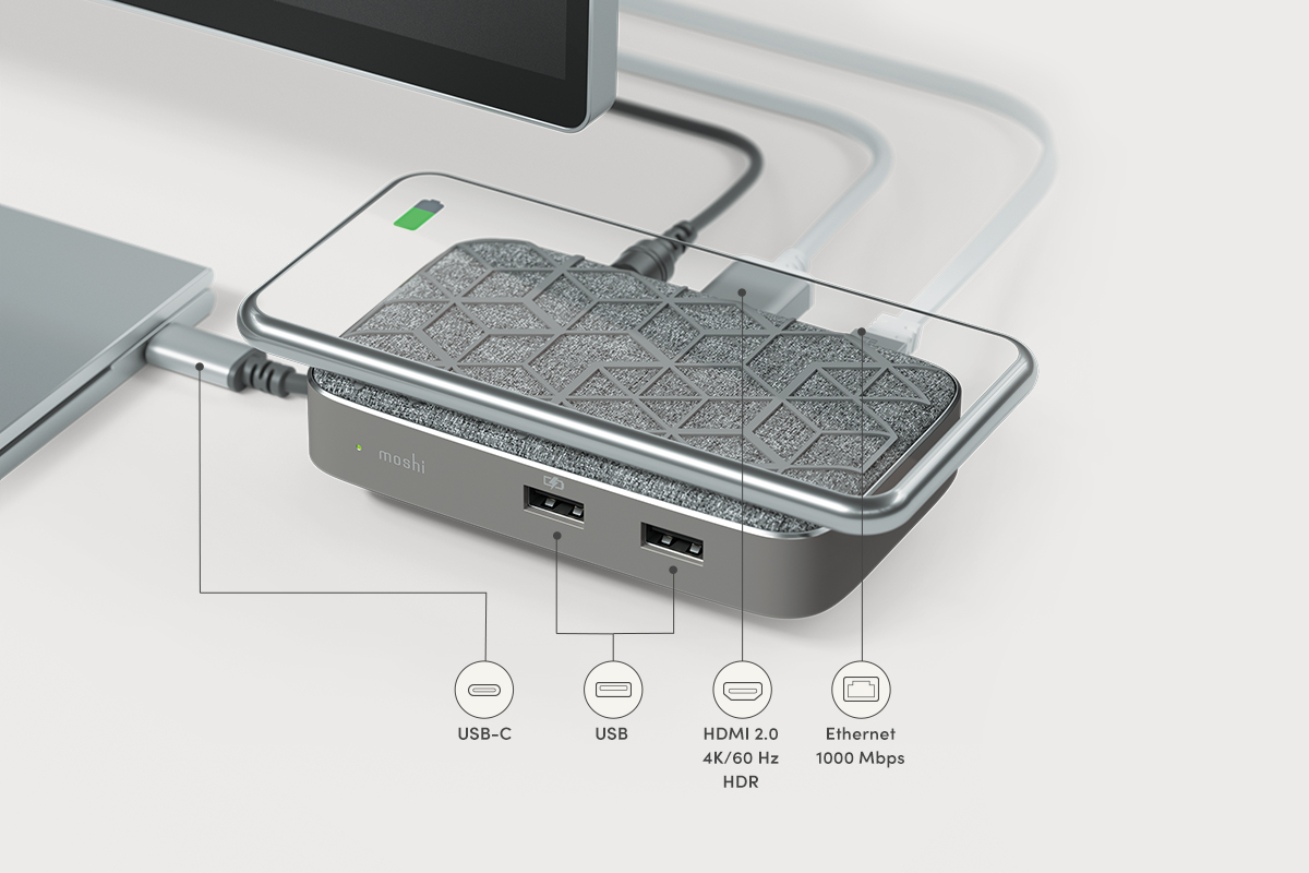 Use just a single USB-C port to add full desktop connectivity to your laptop so you can be more productive at home or in the office. The HDMI port outputs crystal clear ultra high-definition video to an external display, while the Gigabit Ethernet port provides reliable, high-speed wired network connectivity for when WiFi just won't do. Two USB-A ports—one which supports fast-charging—mean you can still use your old accessories such as keyboards, mice, and storage drives with your new laptop.
