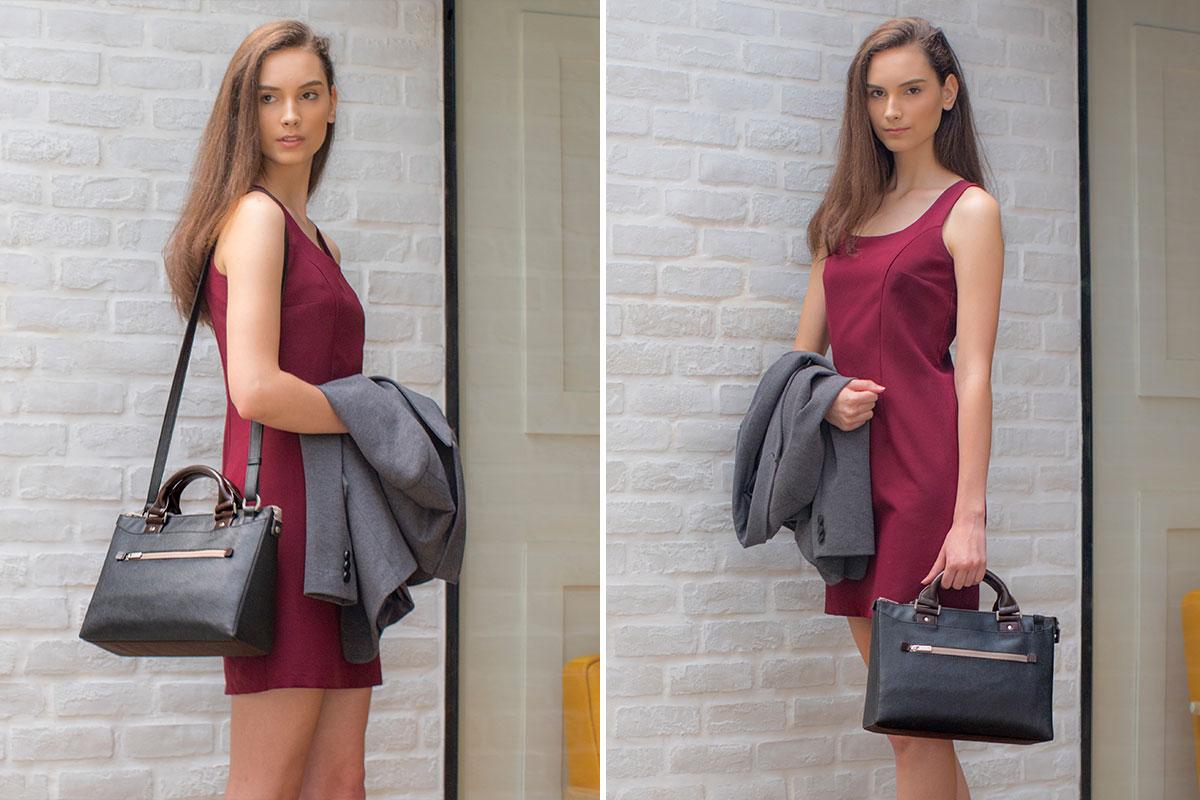 Mit dem Schultergurt können Sie die Tasche über der Schulter tragen. Sie kann abgenommen werden, wenn Sie einen schlankeren, tragenden Look wünschen.