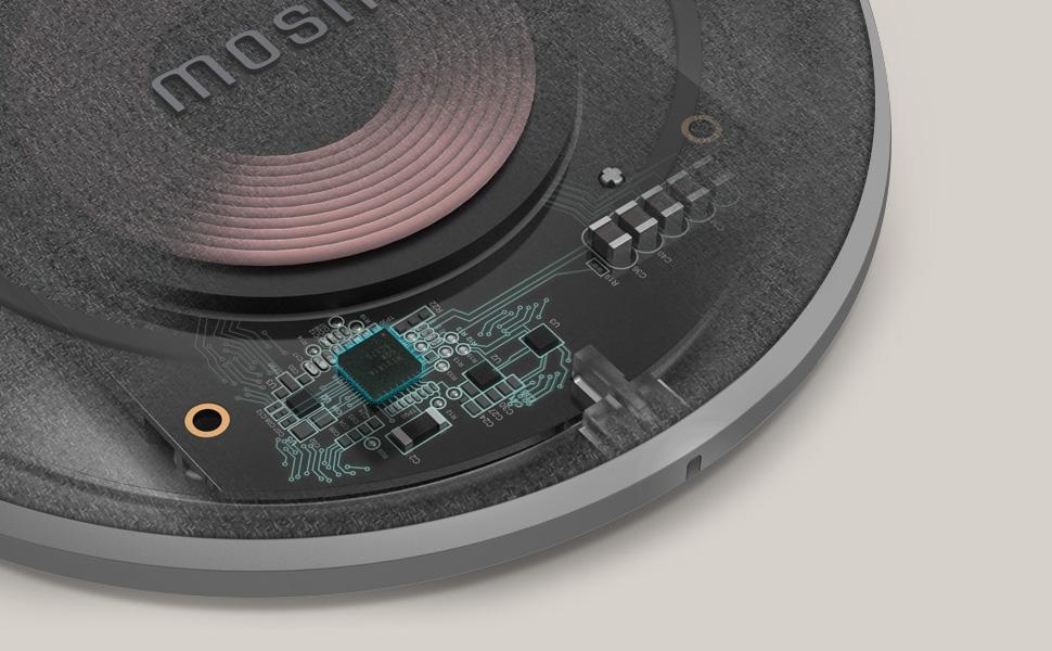Улучшенная электронная компоновка для быстрой беспроводной зарядки, обнаружение посторонних предметов, защита от перегрева и LED-индикатор.